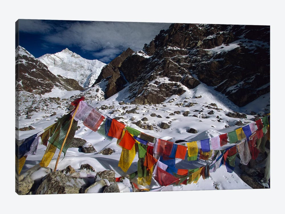 Prayer Flags, Gotcha La, Kangchenjunga, Talung Face, Sikkim Himalaya, India 1-piece Art Print