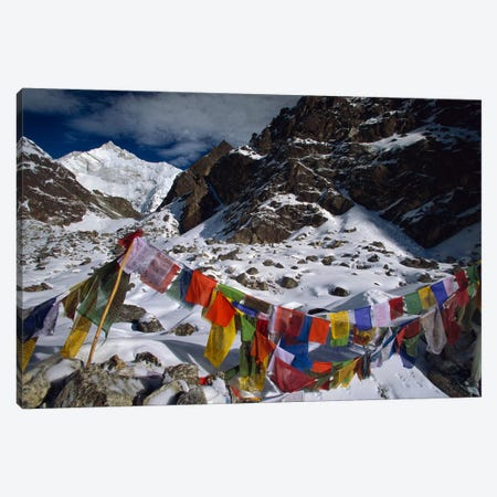 Prayer Flags, Gotcha La, Kangchenjunga, Talung Face, Sikkim Himalaya, India Canvas Print #COL43} by Colin Monteath Art Print