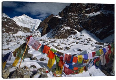 Prayer Flags, Gotcha La, Kangchenjunga, Talung Face, Sikkim Himalaya, India Canvas Art Print