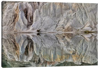 Reflection On Blue Lake, St Bathans, Central Otago, New Zealand Canvas Art Print