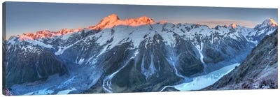 Sunrise On Mount Sefton And Mount Cook Above Hooker Valley, Mount Cook National Park, New Zealand Canvas Art Print