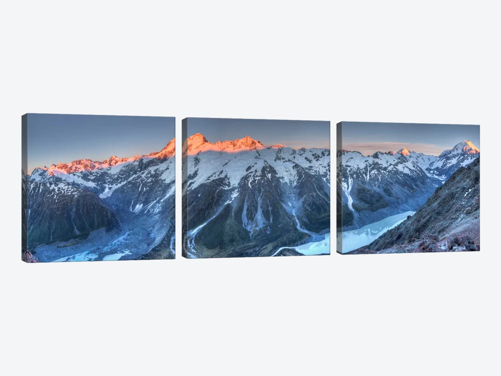Sunrise On Mount Sefton And Mount Cook Above Hooker Valley, Mount Cook National Park, New Zealand by Colin Monteath 3-piece Art Print