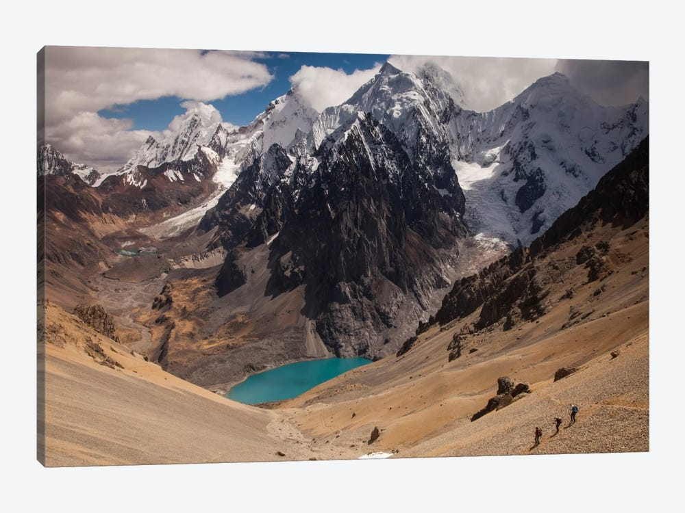 Jurau Lake And Peaks Of Yerupaja And Siula Grande In Clouds, Cordillera Huayhuash, Andes, Peru by Colin Monteath 1-piece Art Print