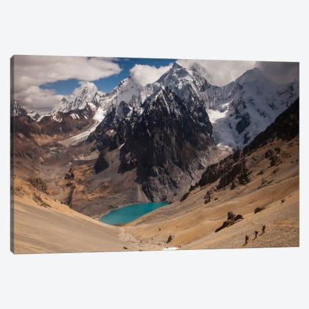 Jurau Lake And Peaks Of Yerupaja And Siula Grande In Clouds, Cordillera Huayhuash, Andes, Peru Canvas Print #COL49} by Colin Monteath Canvas Print