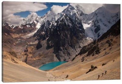 Jurau Lake And Peaks Of Yerupaja And Siula Grande In Clouds, Cordillera Huayhuash, Andes, Peru Canvas Art Print