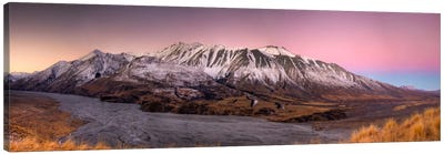 Alpenglow After Sunset Above Clyde River, Cloudy Peak Range, Canterbury, New Zealand Canvas Art Print