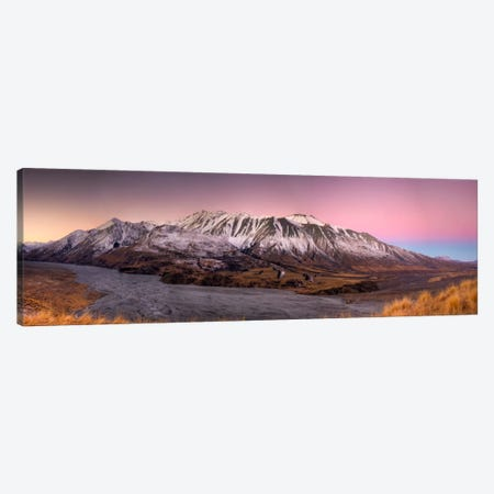 Alpenglow After Sunset Above Clyde River, Cloudy Peak Range, Canterbury, New Zealand Canvas Print #COL4} by Colin Monteath Canvas Print