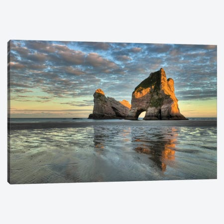 Archway Islands At Sunrise, Wharariki Beach Near Collingwood, Golden Bay, New Zealand Canvas Print #COL54} by Colin Monteath Canvas Print