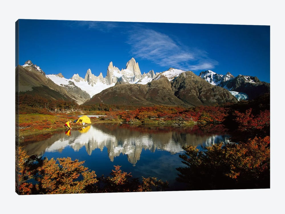 Camp Beside Small Pond Below Fitzroy, Autumn, Los Glaciares National Park, Patagonia, Argentina by Colin Monteath 1-piece Canvas Wall Art