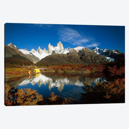 Camp Beside Small Pond Below Fitzroy, Autumn, Los Glaciares National Park, Patagonia, Argentina Canvas Print #COL7} by Colin Monteath Canvas Art Print