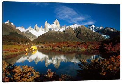 Camp Beside Small Pond Below Fitzroy, Autumn, Los Glaciares National Park, Patagonia, Argentina Canvas Art Print