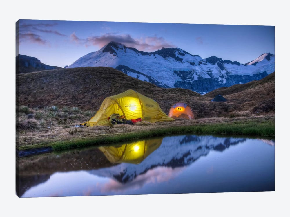 Campers Read In Tents Lit By Flashlight, Cascade Saddle, Mount Aspiring National Park, New Zealand by Colin Monteath 1-piece Canvas Print
