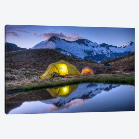 Campers Read In Tents Lit By Flashlight, Cascade Saddle, Mount Aspiring National Park, New Zealand Canvas Print #COL8} by Colin Monteath Canvas Art