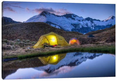 Campers Read In Tents Lit By Flashlight, Cascade Saddle, Mount Aspiring National Park, New Zealand Canvas Art Print