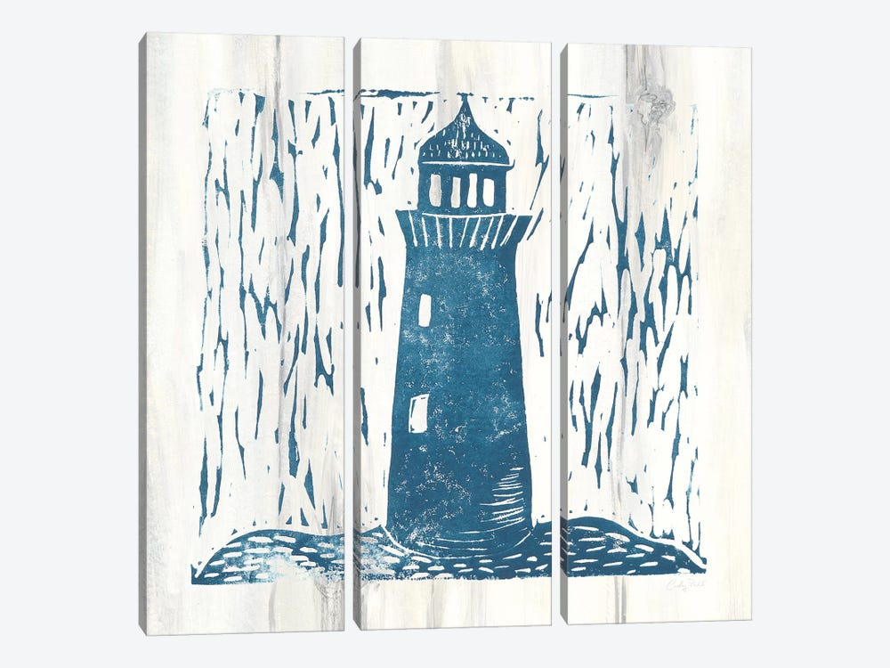 Nautical Collage I On White Wood by Courtney Prahl 3-piece Canvas Wall Art