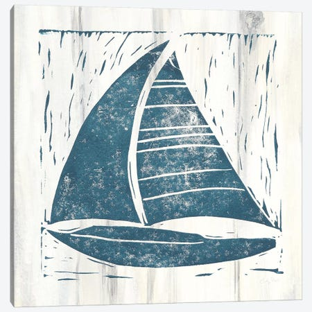 Nautical Collage IV On White Wood Canvas Print #COP3} by Courtney Prahl Canvas Art Print