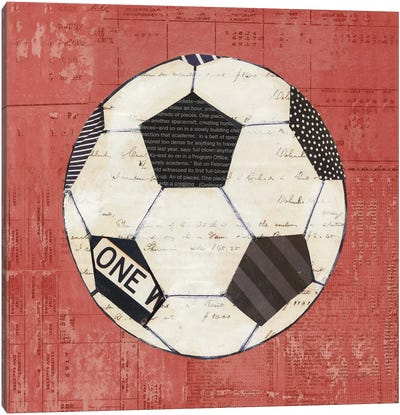 Play Ball III Red Canvas Art Print