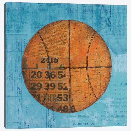 Play Ball IV Blue Canvas Print #COP51} by Courtney Prahl Canvas Art