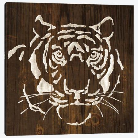White Tiger on Dark Wood Canvas Print #CPA107} by Chris Paschke Canvas Artwork
