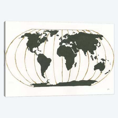 World Map Gold Lines Canvas Print #CPA109} by Chris Paschke Art Print