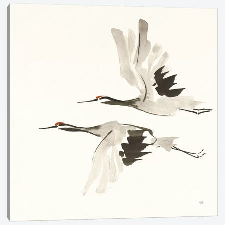 Zen Cranes I Warm Canvas Print #CPA110} by Chris Paschke Canvas Art