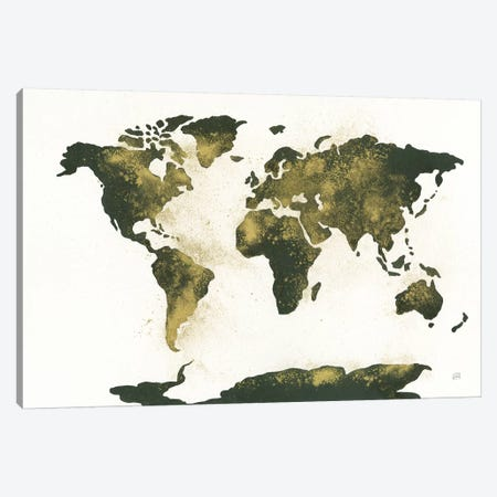 World Map Gold Dust Canvas Print #CPA133} by Chris Paschke Canvas Art