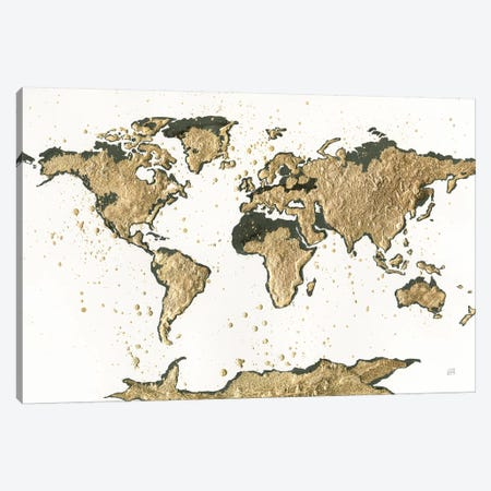 World Map Gold Leaf 3-Piece Canvas #CPA134} by Chris Paschke Canvas Print