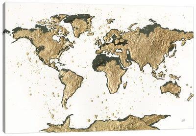 World Map Gold Leaf Canvas Art Print
