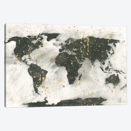 World Map Gold Speckle Canvas Print #CPA135} by Chris Paschke Canvas Art Print