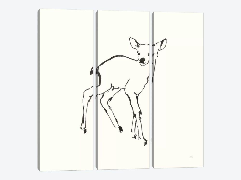 Line Fawn by Chris Paschke 3-piece Canvas Wall Art