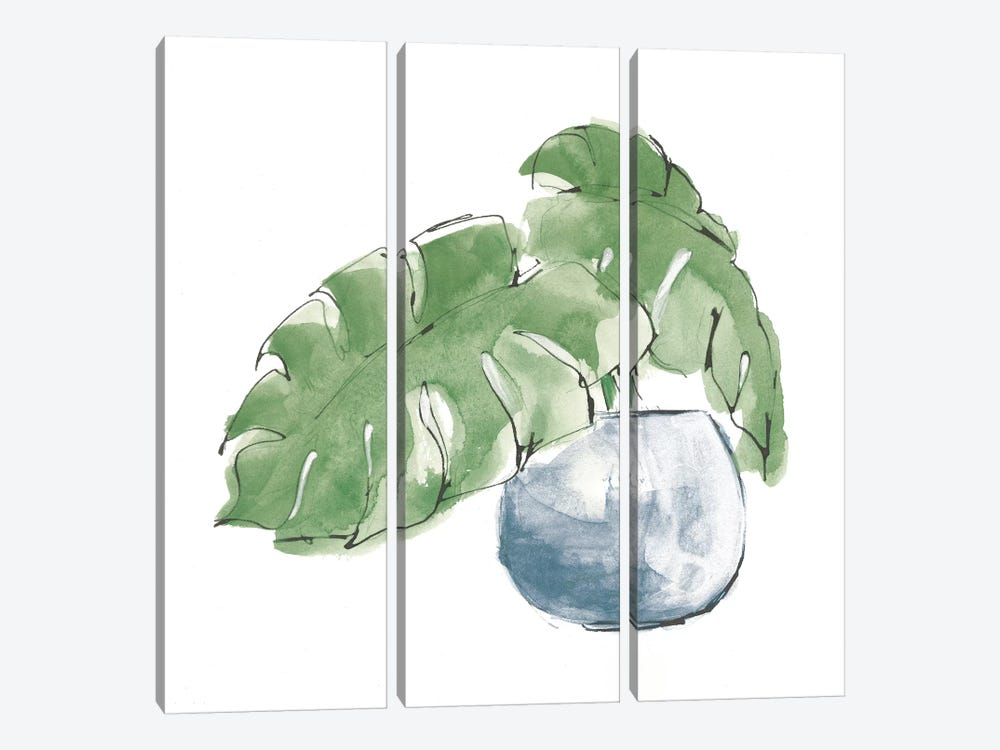 Plant Big Leaf IV Dark Green by Chris Paschke 3-piece Canvas Wall Art