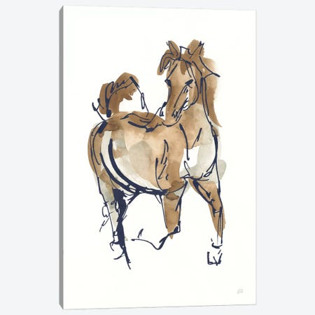 Sketchy Horse V Navy Canvas Print #CPA177} by Chris Paschke Canvas Art Print