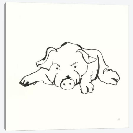 Line Pig I Canvas Print #CPA186} by Chris Paschke Canvas Wall Art
