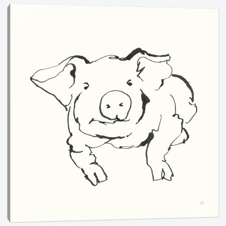 Line Pig II Canvas Print #CPA187} by Chris Paschke Canvas Artwork