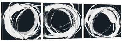 Gilded Enso Triptych BW Canvas Art Print