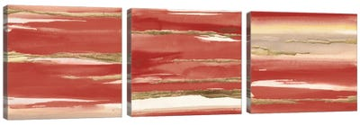 Gilded Red Triptych Canvas Art Print