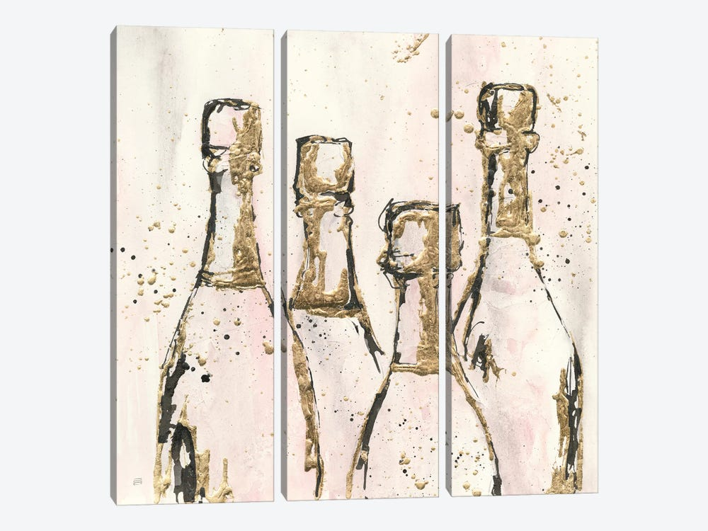 Champagne Is Grand I by Chris Paschke 3-piece Canvas Wall Art