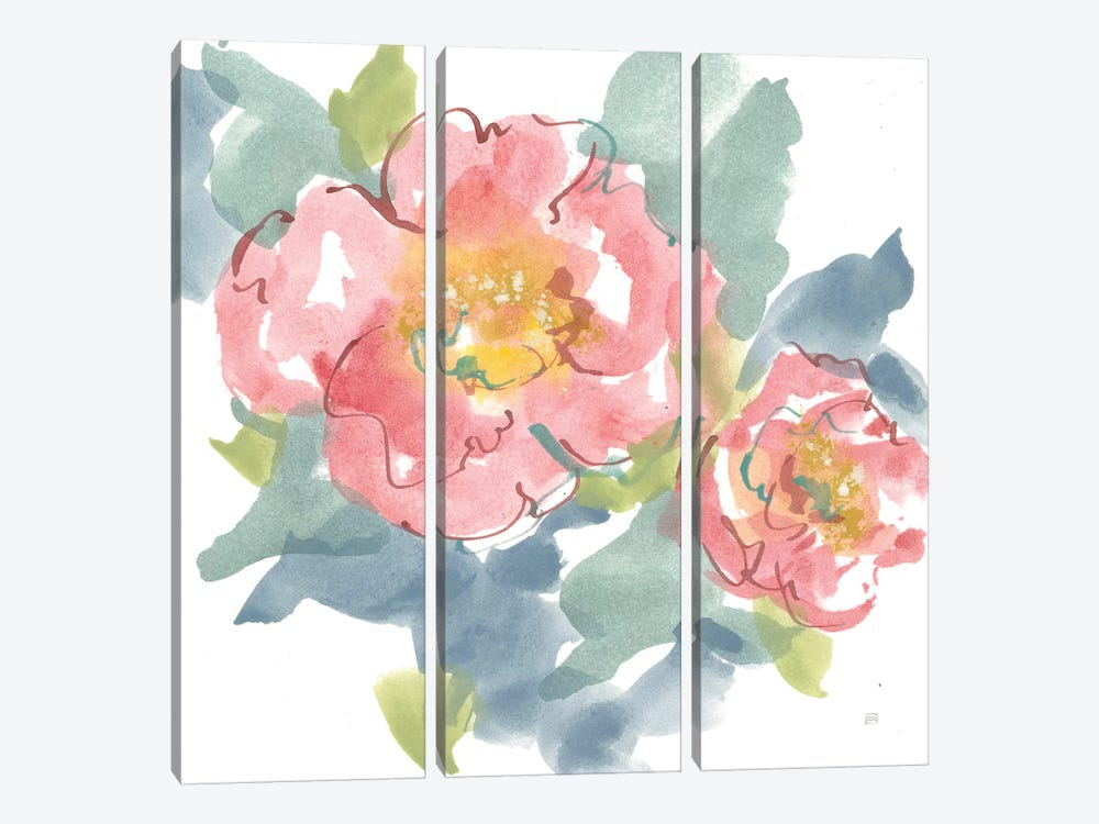 Peony in the Pink I on White by Chris Paschke 3-piece Canvas Artwork