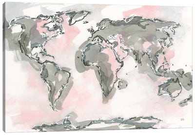 World Map Blush Canvas Art Print