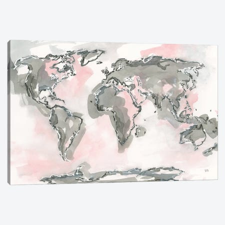 World Map Blush 3-Piece Canvas #CPA88} by Chris Paschke Art Print
