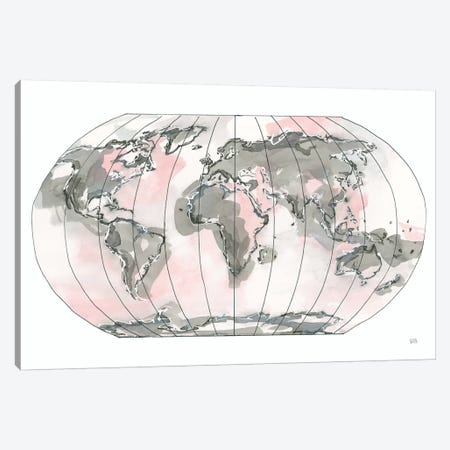 World Map Blush v2 3-Piece Canvas #CPA89} by Chris Paschke Canvas Print