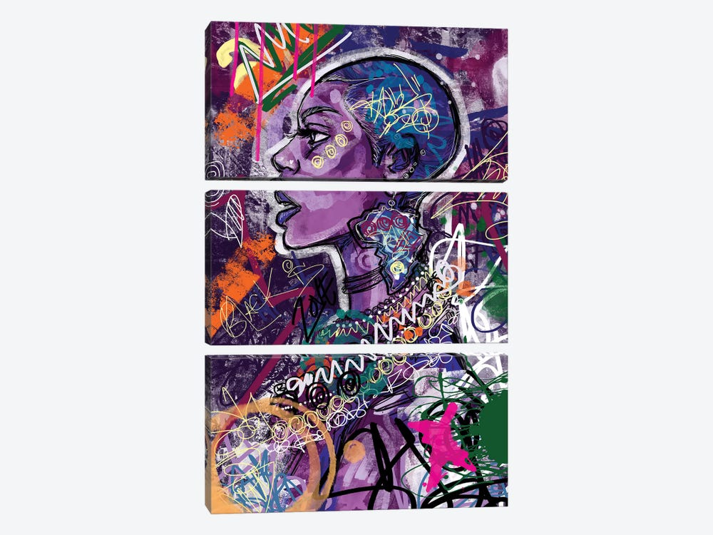 Black Is Love by Justin Copeland 3-piece Canvas Print
