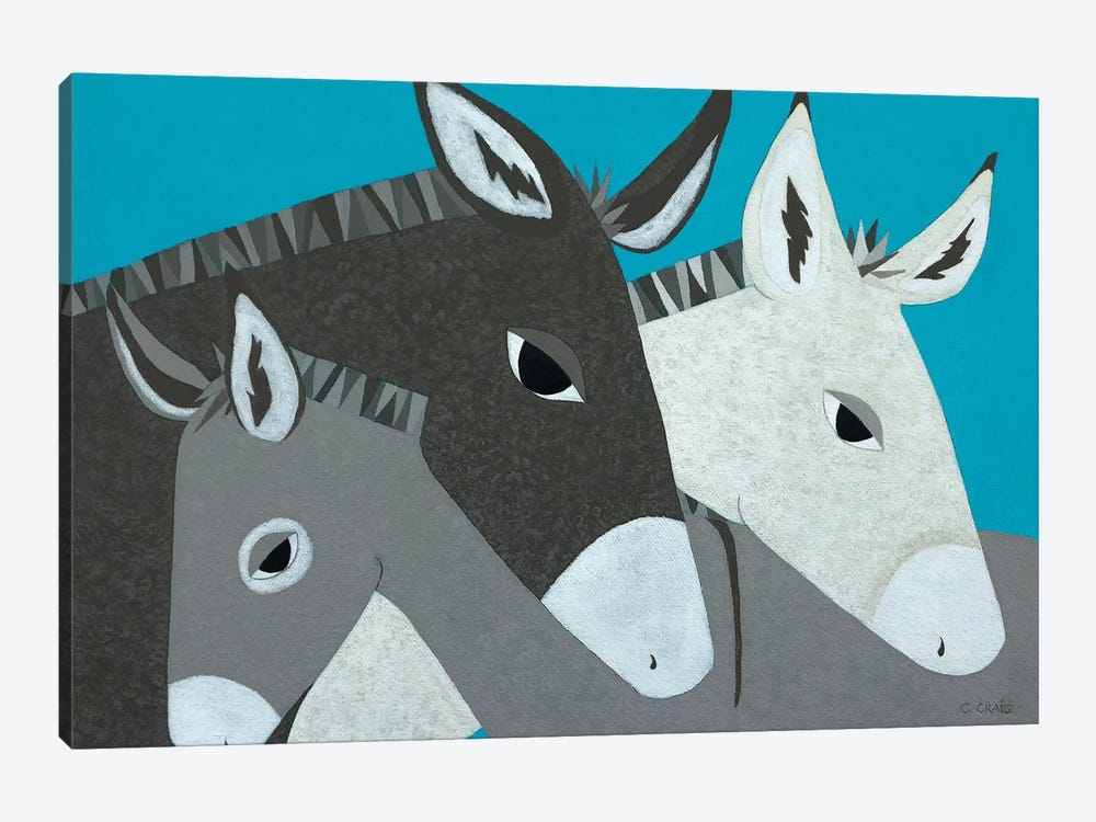 Donkey Family by Casey Craig 1-piece Canvas Print