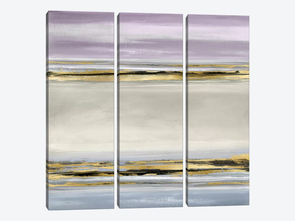 Linear Motion In Lavender by Allie Corbin 3-piece Canvas Art Print