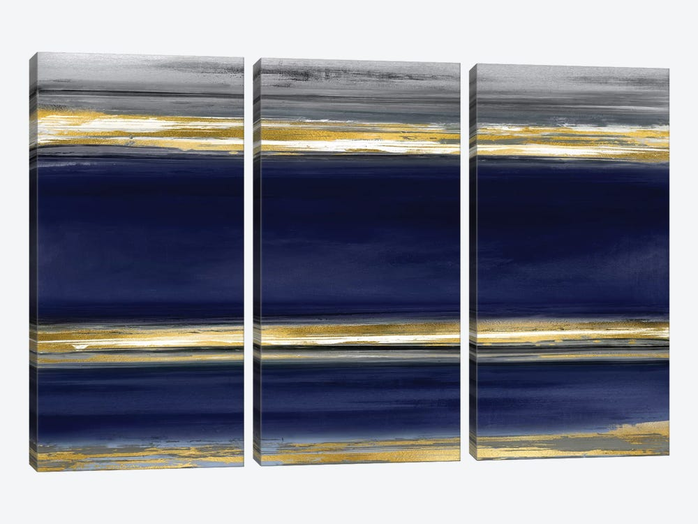 Parallel Lines On Indigo by Allie Corbin 3-piece Canvas Wall Art