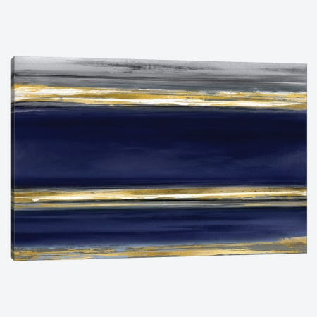 Parallel Lines On Indigo 3-Piece Canvas #CRB13} by Allie Corbin Canvas Art