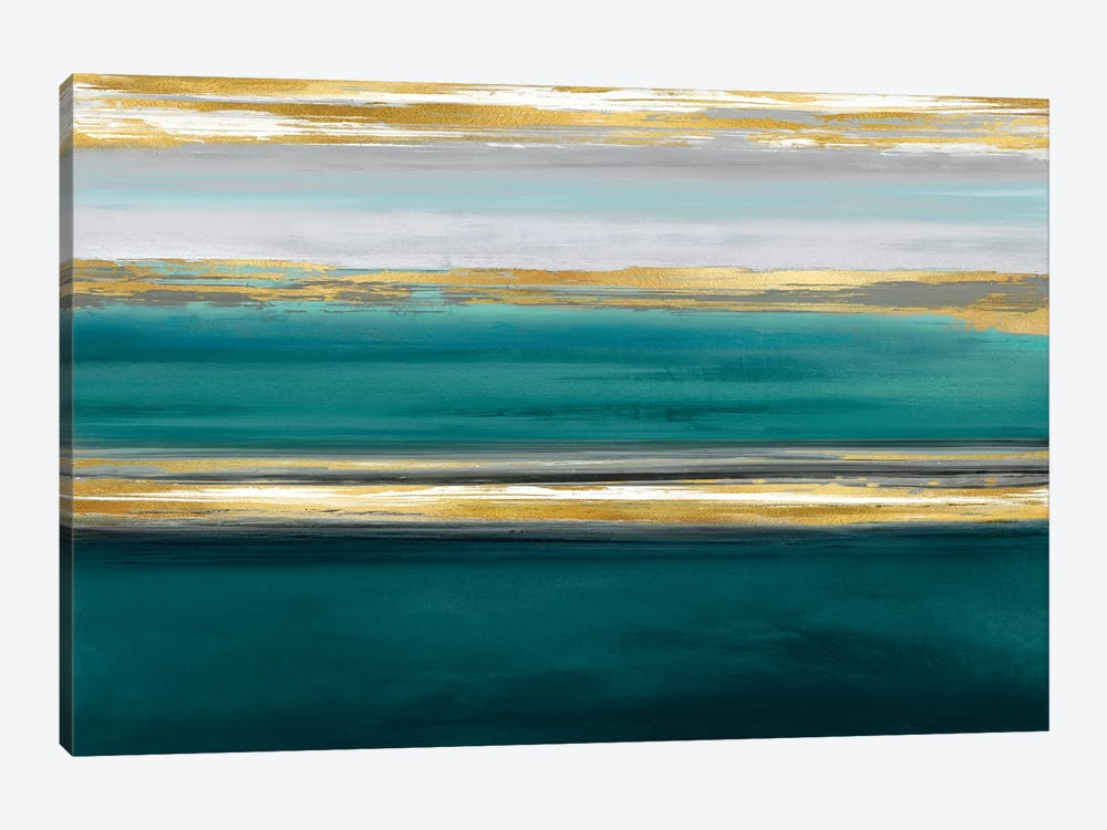 Parallel Lines On Teal by Allie Corbin 1-piece Canvas Print
