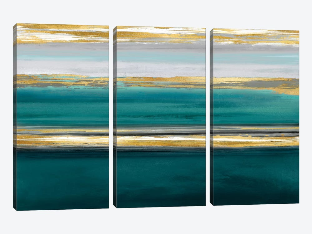 Parallel Lines On Teal by Allie Corbin 3-piece Art Print