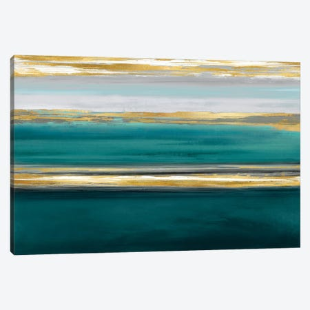 Parallel Lines On Teal 3-Piece Canvas #CRB14} by Allie Corbin Canvas Art Print
