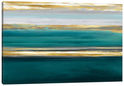 Parallel Lines On Teal Canvas Art Print